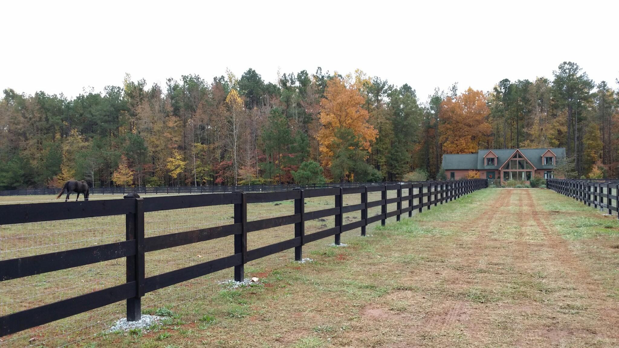 Deer fence specialty farm systems a 3 board with no climb mesh horse fence at rohan farm baanklon Choice Image